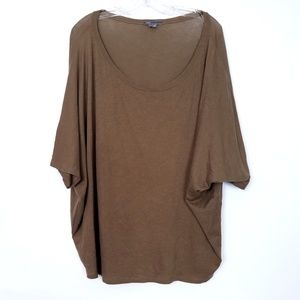 VINCE Dolman Top Tee T-Shirt Wide Scoop Neck Brown